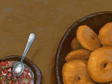 Sopaipillas con pebre (Chilean food)