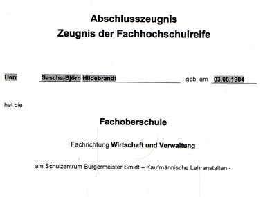 Zeugnis Fachoberschule Wirtschaft & Verwaltung