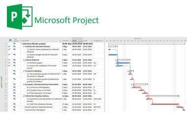Scheduling & Gantt Chart using MS Project