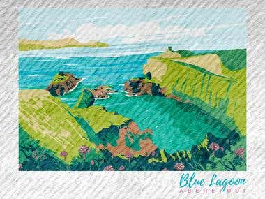 BLUE LAGOON [Landscape Illustration]