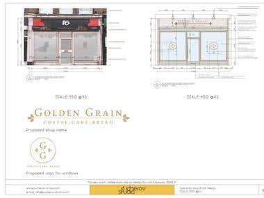 Coffe shop interior design. Drawings