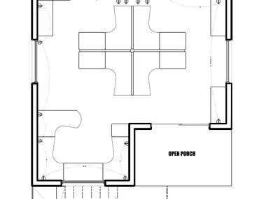 Floor plan and 3D design for office
