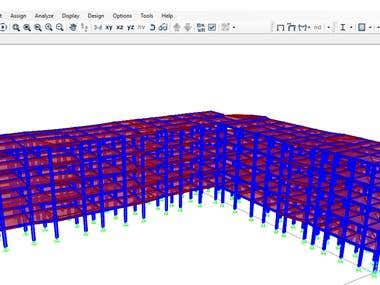 3D structural Modeling For Five Floors Steel Building