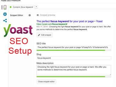 Wordpress Yoast Setup
