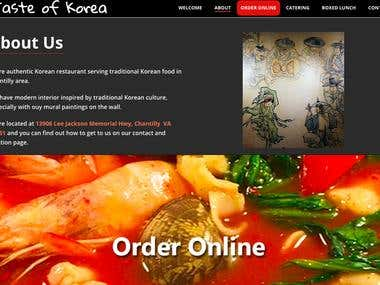 WordPress website for restaurant Teste Of Korea