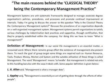 Classical and scientific management system