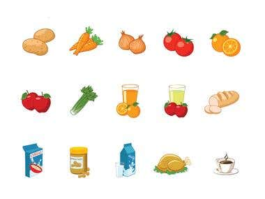 groceries icons
