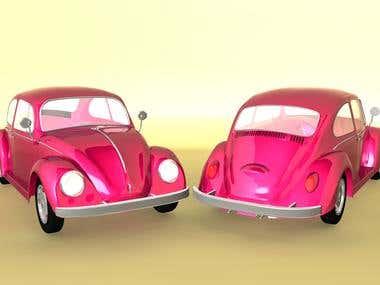 Pink Beetle 3D Car Model