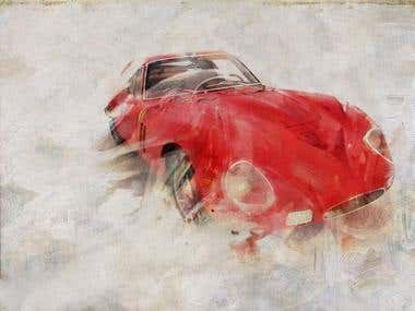 Motoring art illustration and painting