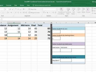 Microsoft Excel Dummy Projects