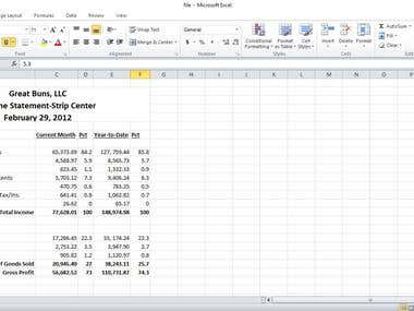 Income Statement and Accounting work in Excel Sheet