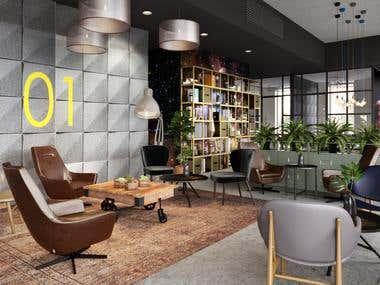 Public area Interior 3D realistic visualization