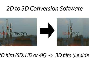 Design of a software for converting a 2D film into 3D film