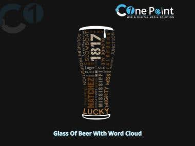 Glass Of Beer With Word Cloud Design