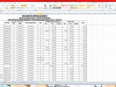 Sales & Tax Invoice On Excel