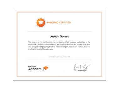 Hubspot Academy Inbound Marketing certified
