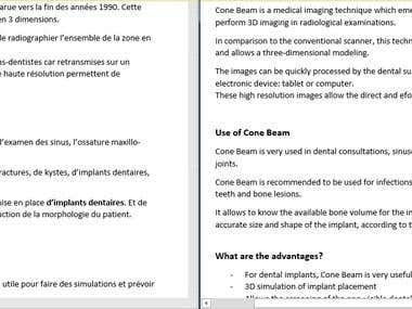 French-English Translation in the medical field