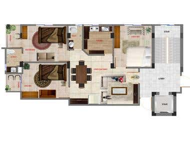 2D Colored Floor Plan