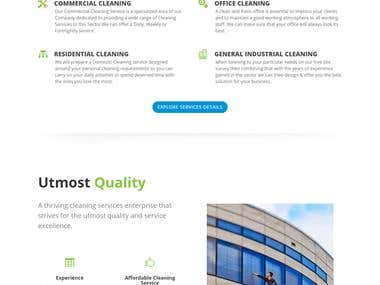 Website for a Cleaning Service Company using DIVI Theme