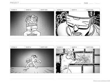 Storyboard for Cyberpunk Short Film