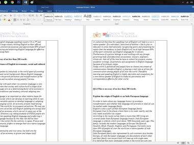 Writing and Excel work