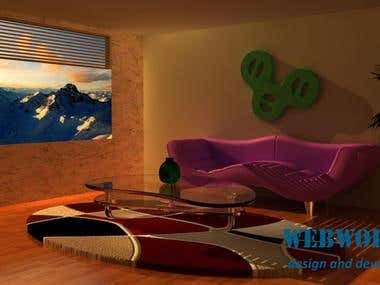 Interior graphics using MAYA