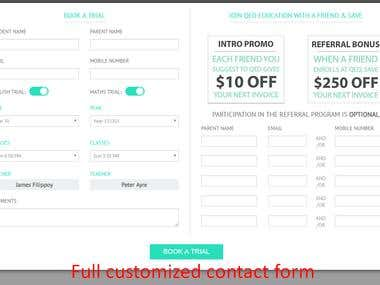 Contact form customization and popup form