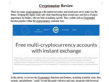 Cryptonator Web Wallet Review
