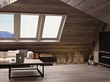 Bedroom in mountains interior design
