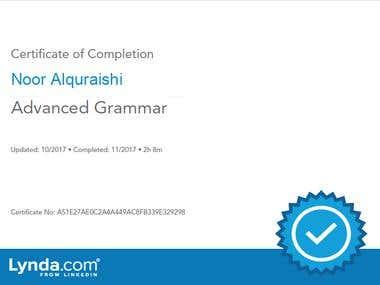 advance grammar certificate