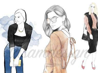 Fashion illustration, fashion sketch, digital illustration