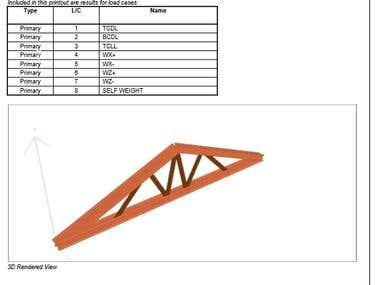 Strengthening a wooden truss by steel profiles.