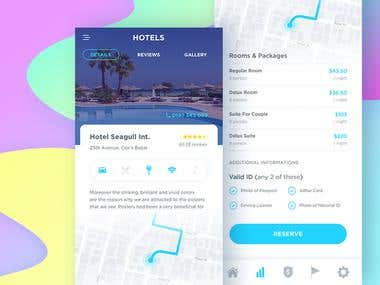 Mobile app design for booking