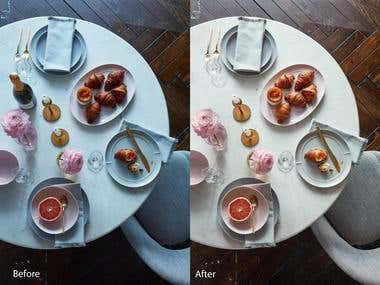 Food industry image Retouching and color correction