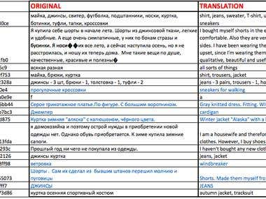 rus-eng translation of research data