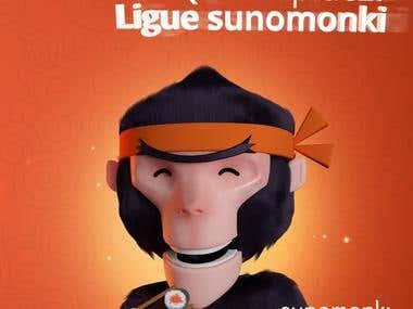 Sunomonki Fast Sushi 3D Character Design
