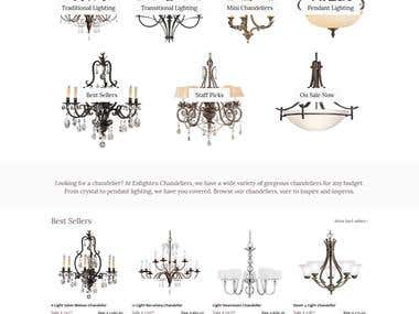 Enlighten Chandeliers E-commerce website