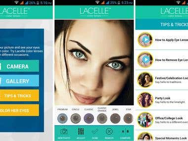 Color Lenses Apps designing and development for mobile apps