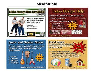Ad designs for online classifieds