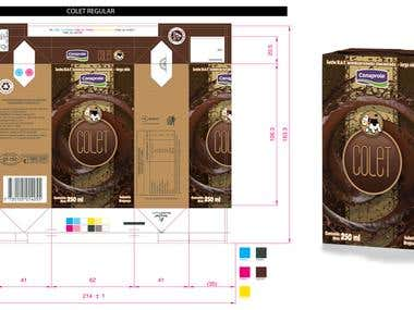 DESIGN WORK OF THREE BOXES OF CHOCOLATED MILK