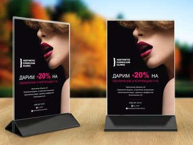 Advertising posters A4 format for Aesthetic Clinic