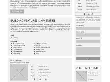 Medium Fidelity Prototypes for a Real Estate Website.