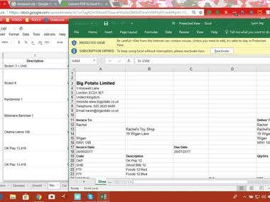 PDF to EXCEL Project