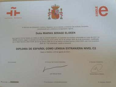 DIPLOMA DELE C2 (Spanish language certificate level C2)
