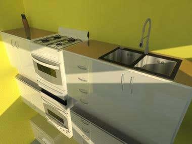 3D Kitchen render - Basic design