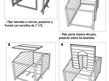 3D Dog house in wood design with manuals
