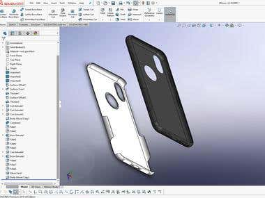 iPhone case modeling with two layers in SolidWorks 2017
