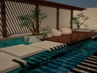 Inside yard and pool design