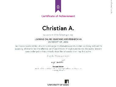 Certificate of Learning Online: Searching and Researching