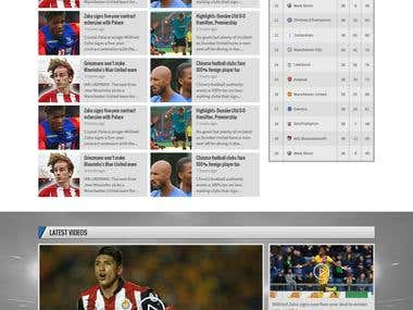 Homepage Design For EPL Football